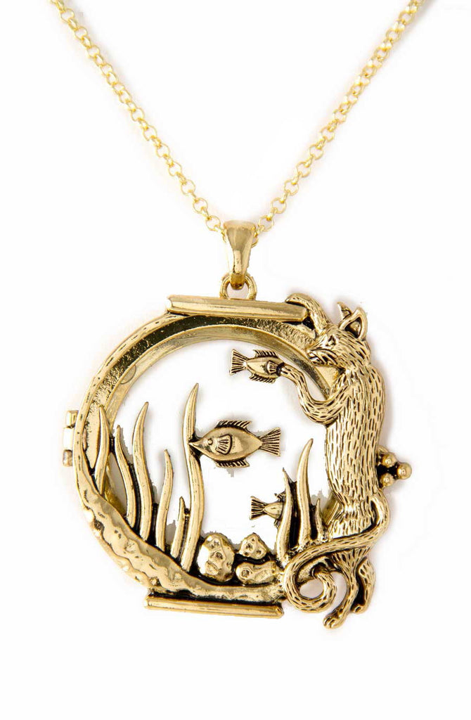 Cat goldfish in fishbowl magnifying glass pendant neckace the cat goldfish in fishbowl magnifying glass pendant neckace the good cat company mozeypictures Image collections