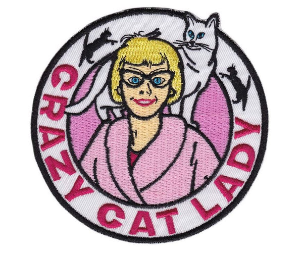 Embroidered Crazy Cat Lady Iron on Patch