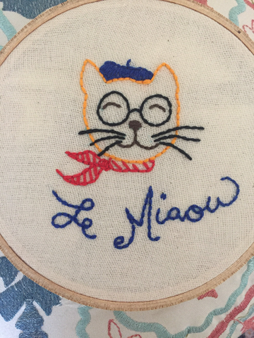 French Cat in Glasses & Beret Embroidered Hoop - The Good Cat Company