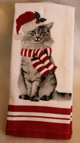 Christmas Gray Cat in Santa Hat Kitchen Towel Set