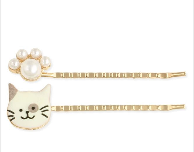 Frisky Kitty White Cat & Pearl Bobby Pin Set