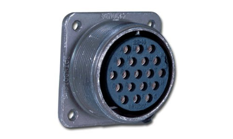 Amphenol Industrial MS3102A24-28S Circular Connector Socket, General Duty, Non-Environmental, Threaded Coupling, Solder Termination, Box Mounting Receptacle, 24-28 Insert Arrangement, 24 Shell Size, 24 Contacts