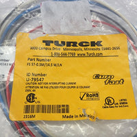 FS7-0.5M/14.5W/LN TURCK Eurofast Cable Assembly 5 Pin male Connector with .5 Meter 22AWG Wire Leads 4A 250V Max