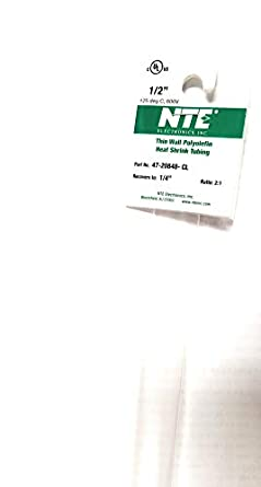 "NTE Electronics 47-20848-CL Heat Shrink Tubing, Thin Wall, 2:1 Shrink Ratio, 1/2"" Diameter, 48"" Length, Clear"