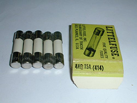 414015 Ceramic Fuse 15A 250V Slo-Blo 4AB 1/4 x 1-1/4in (5 pieces)