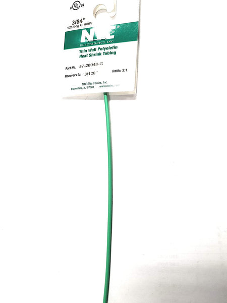 "NTE Electronics 47-20048-G Heat Shrink Tubing, Thin Wall, 2:1 Shrink Ratio, 3/64"" Diameter, 48"" Length, Green"
