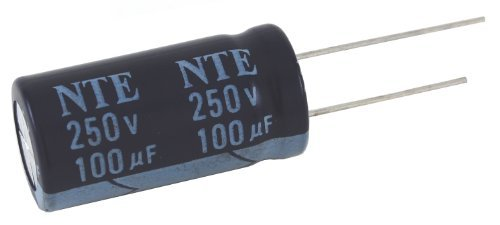 NTE Electronics VHT330M25 Series VHT Aluminum Electrolytic Capacitor, Radial Lead, 105 Degree Max Temp, 330 µF Capacitance, 20% Tolerance, 25V