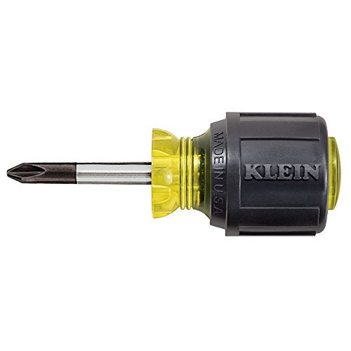 Klein Tools 603-1 Stubby Screwdriver, #2 Phillips Tip with 1-1/2-Inch Round Shank and Cushion Grip Handle