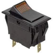 GC Electronics 35-656 Amber Lighted Rocker Switch, SPST On-Off, 15A 125VAC / 10A 250VAC, 125V Neon Lamp, 1.45 x 0.83 Mounting Hole