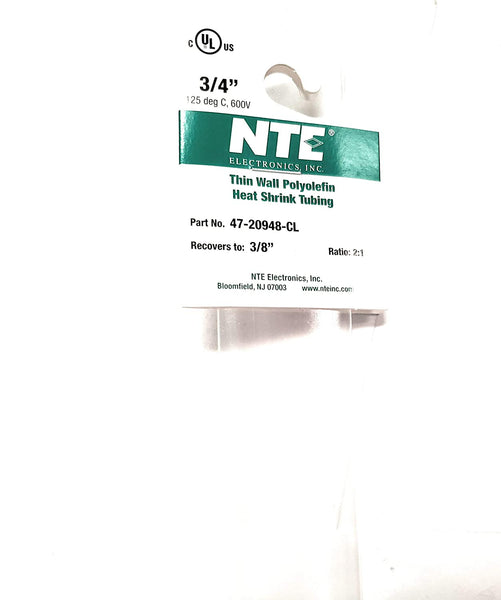 "NTE Electronics 47-20948-CL Heat Shrink Tubing, Thin Wall, 2:1 Shrink Ratio, 3/4"" Diameter, 48"" Length, Clear"
