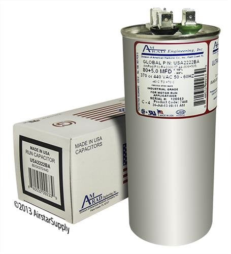 Proline PB800Z050T440EAGR Replacement - 80 + 5 uf/Mfd 370/440 VAC AmRad Round Dual Universal Capacitor, Made in The U.S.A.