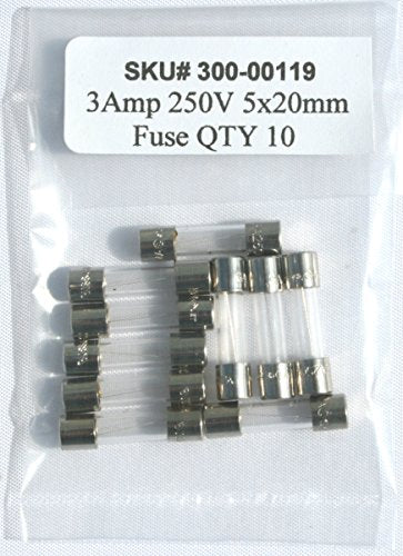 GMA-3 3A 250V / 5x20mm fuse / 3 AMP 250 volts / Fast Blow / Lot of 10