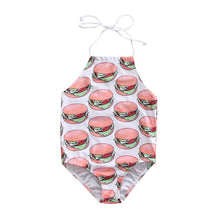 food print swimsuits.