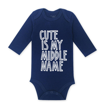 middle name blue long-sleeve onesie