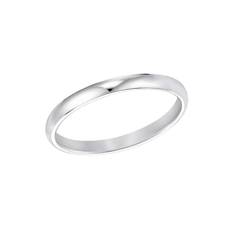 Ladies Polished Low Round Profile Comfort Fit Wedding Band