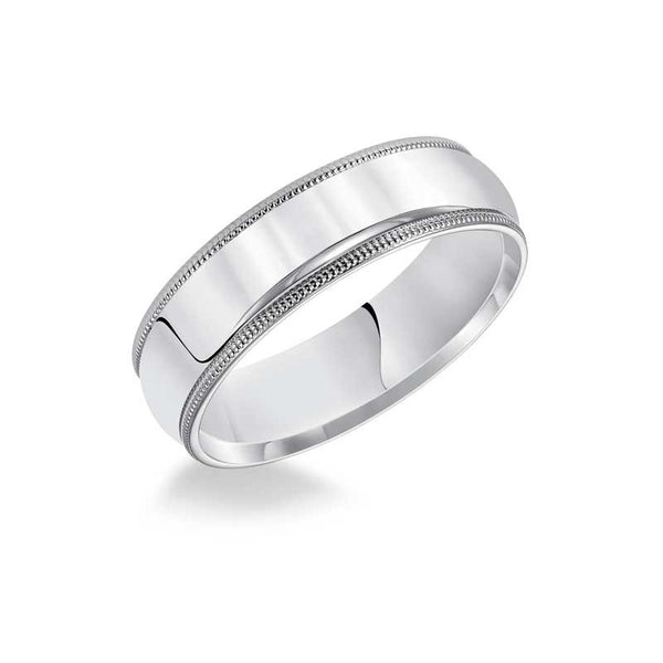 Polished Milgrain Edge Low Round Profile Comfort Fit Wedding Band