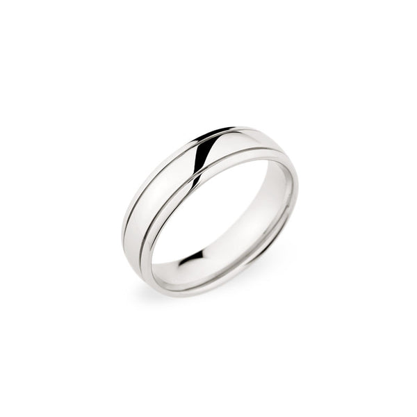 6mm High Polished Grooved Wedding Band
