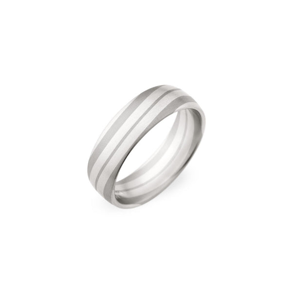 6.5mm Platinum and 18 Karat White Gold Line Patterned Wedding Band