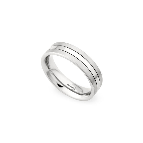 6.5mm Grooved Brushed Sides and Polished Center Wedding Band