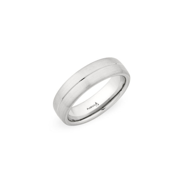 6.5mm Brushed Finish with a Polished Grooved Center Wedding Band