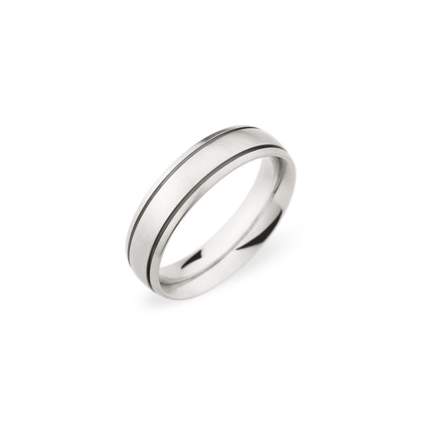 6mm Brushed Finish with Polished Grooves Wedding Band