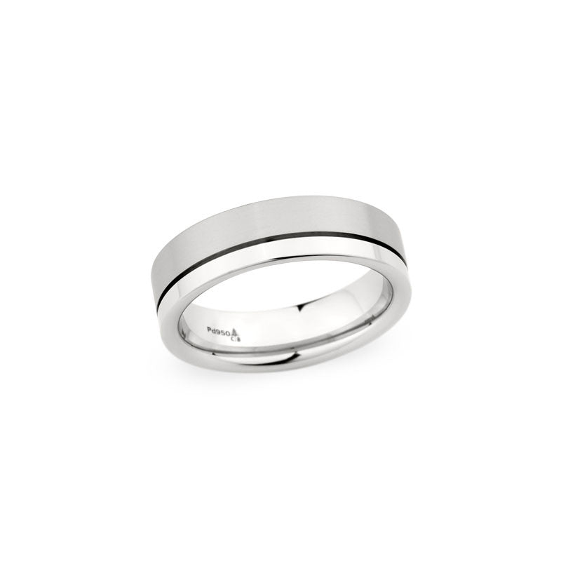 6.5mm Brushed and Polished Finish with Off-Center Groove Wedding Band