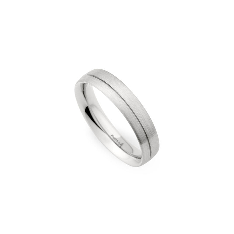 4mm Brushed Finish with Off-Center Groove Wedding Band