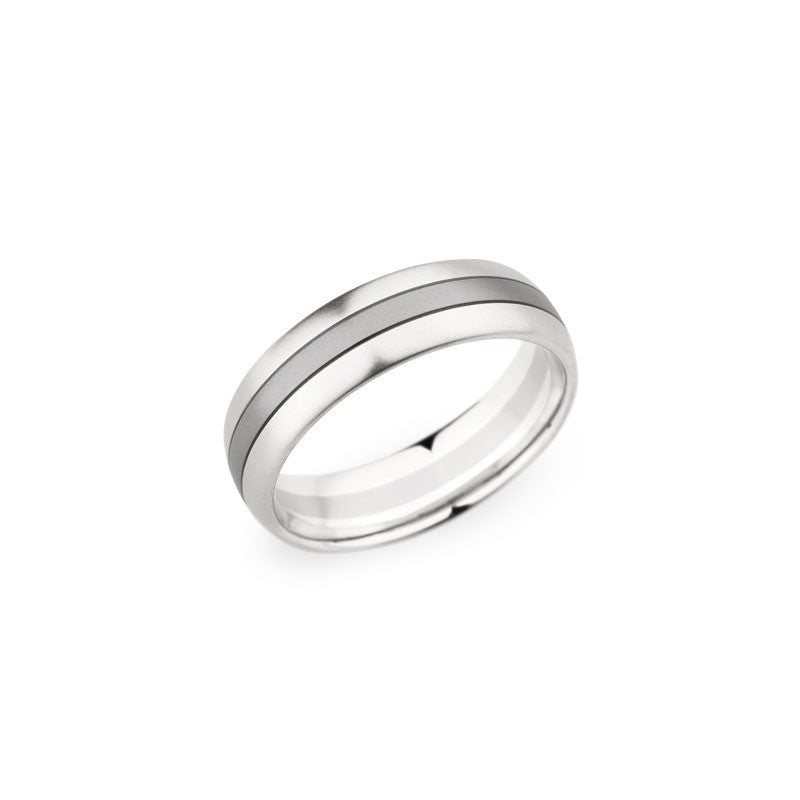 6.5mm Platinum and 18 Karat White Gold Brushed Finish Wedding Band