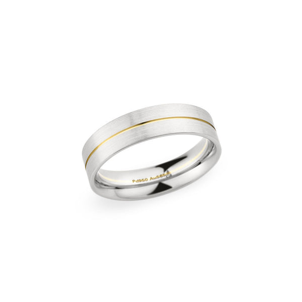 6mm Two-Tone Brushed and Polished Finish Groove Center Wedding Band