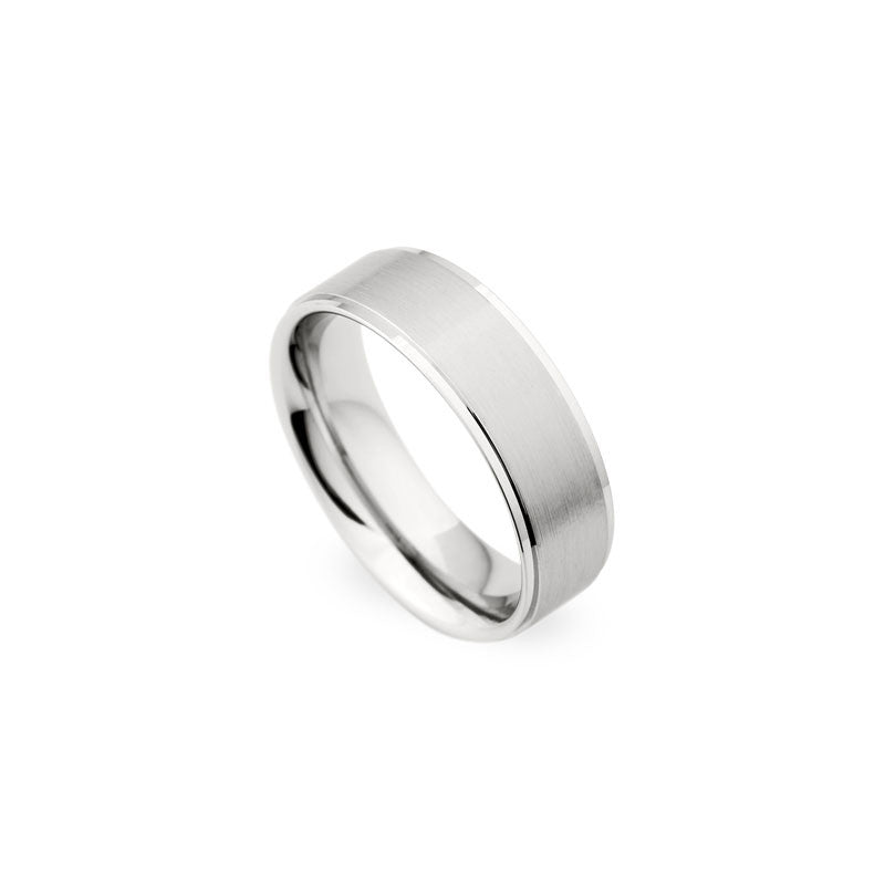 7mm Brushed Center with Polished Edge Wedding Band