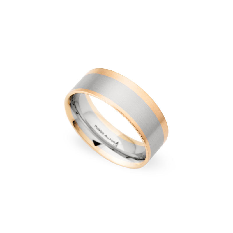 8mm Palladium and 18 Karat Rose Brushed Wedding Band