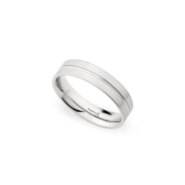 5.5mm Brushed with Polished Center Groove Wedding Band