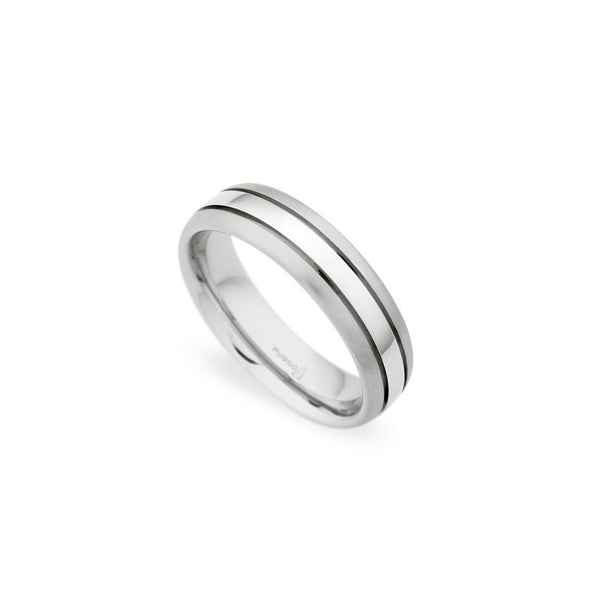 6mm Polished Center with Brushed Edge Grooved Wedding Band