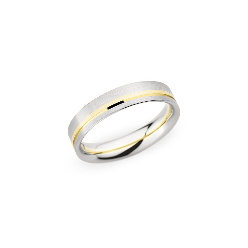 5mm Two-Tone Brushed and Polished Wedding Band
