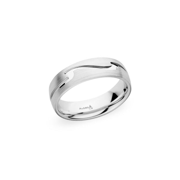 6.5mm Brushed and Polished Finish Wave Design Wedding Band