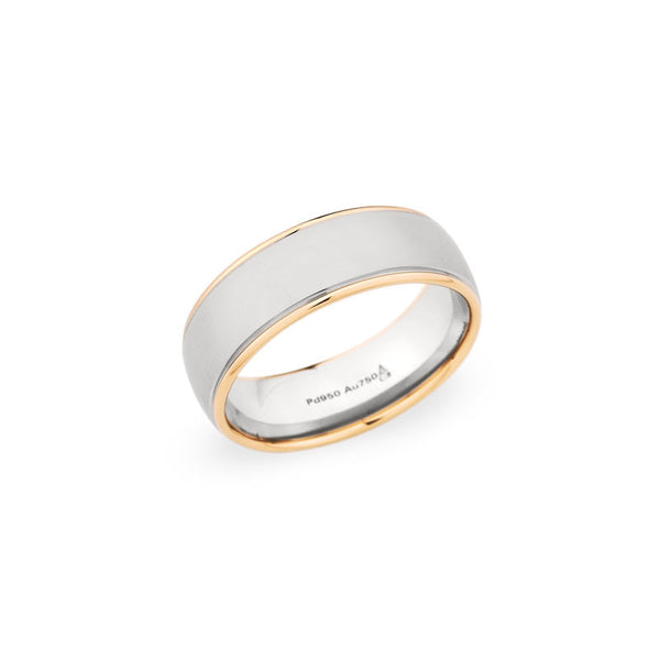 7.5mm Two-Tone Brushed Center & Polished Edge Finish Wedding Band