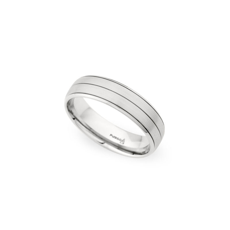 6mm Brushed Finish with Three Grooves Wedding Band