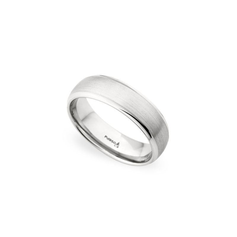 6.5mm Brushed Finish with a Polished Edge Wedding Band