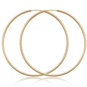 1.8x50mm 14 Karat Yellow Gold Twist Tubing Earrings