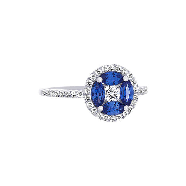 Tremezzo Collection Marquise Sapphire & Diamond Halo Ring
