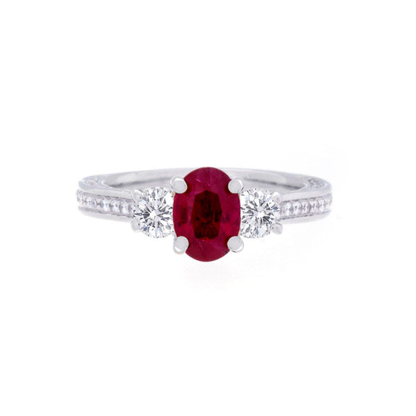 Three Stone Oval Ruby Center with Diamonds
