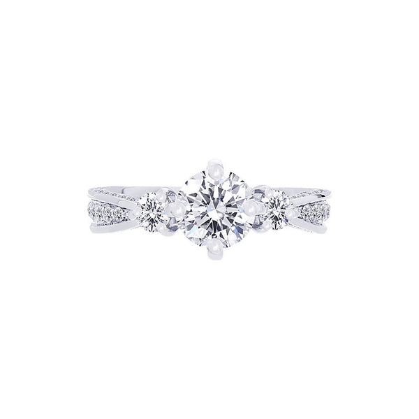 Forevermark Three Stone Compass Setting Engagement Ring