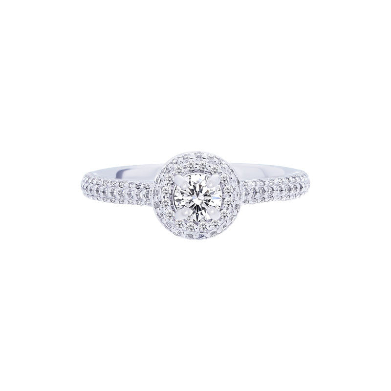 Forevermark Center of My Universe Round Pave Halo Engagement Ring, 0.48 total carat