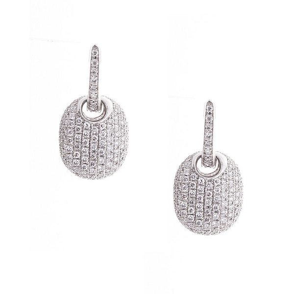 Bellagio Collection Pave Diamond White Gold Drop Earrings