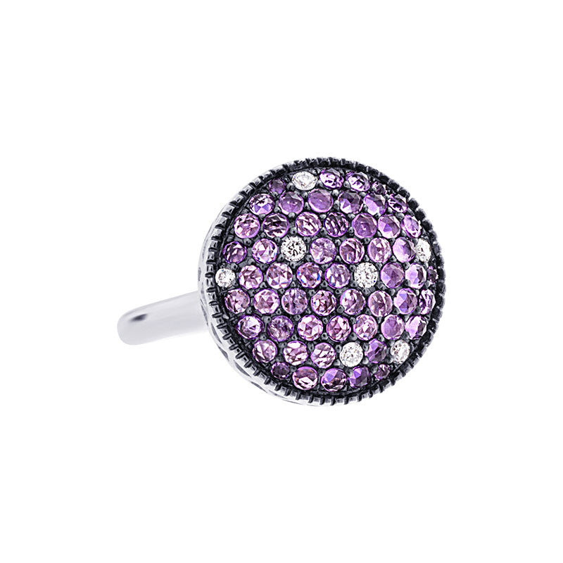 Tremezzo Collection Pave Amethyst & Scattered Diamond Ring