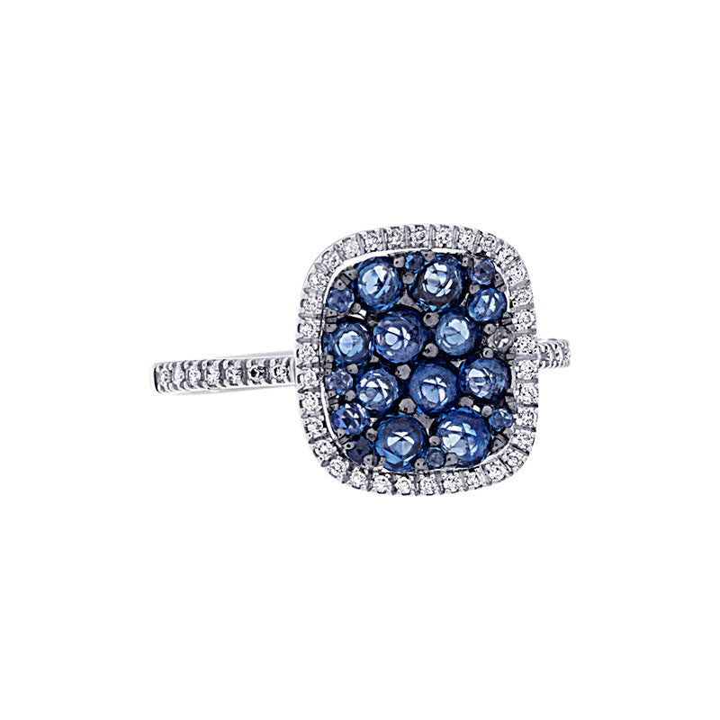 Tremezzo Collection Pave Sapphire & Diamond Concave Cushion Halo Ring