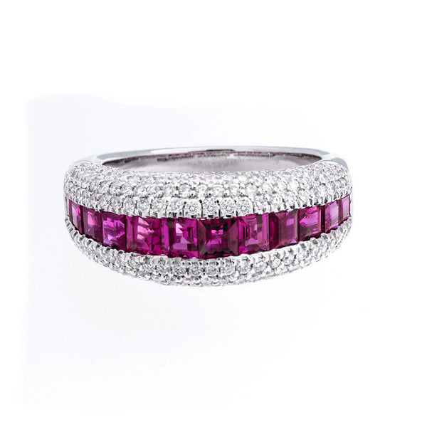 Bellagio Collection Pave Diamond and Ruby Ring
