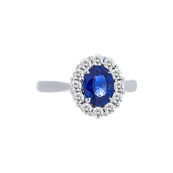 Tremezzo Collection Classic Oval Sapphire & Diamond Halo Ring