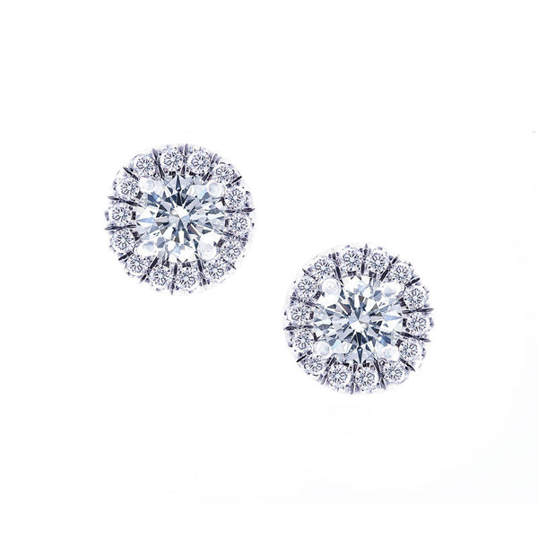 Aura Collection Diamond Halo Earrings, 1.30 Total Carat