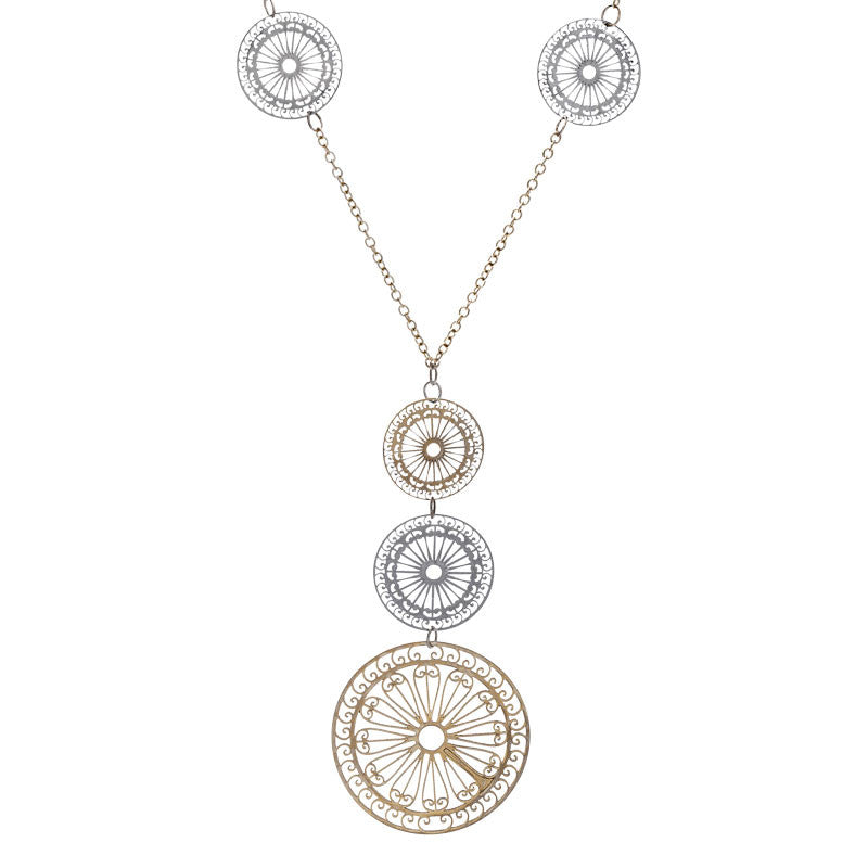 Italian gold sunbeam disc necklace